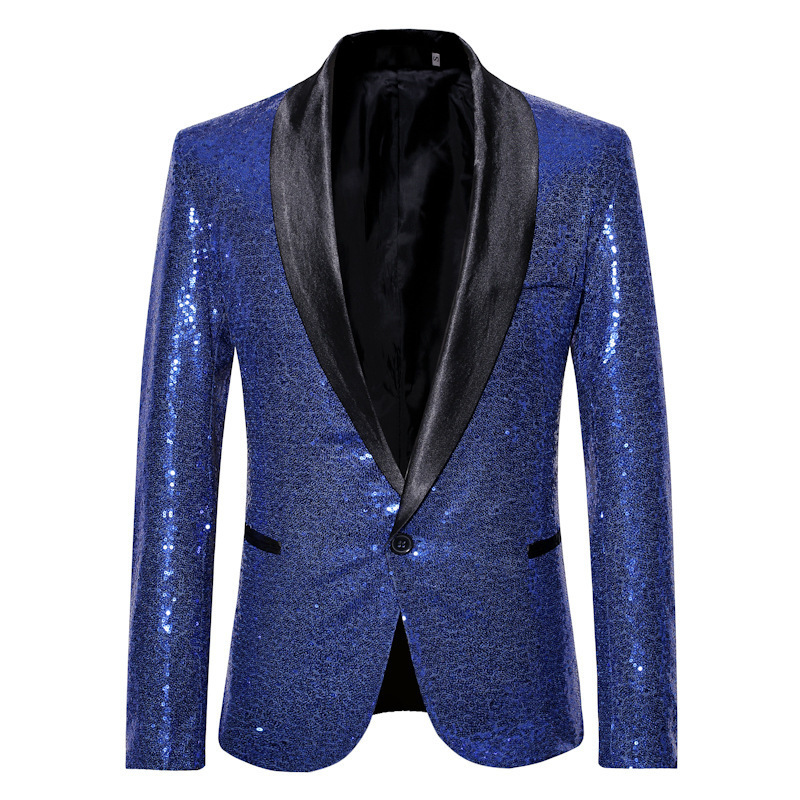 Gold Sequins Glitter Suits Blazer Men 2020 New Casual Single Button Club Dance Mens Blazer Jacket Stage Costumes For Singers 2XL