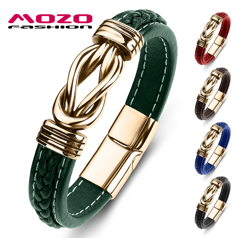 MOZO FASHION New Classic Men Bracelet Leather Stainless Steel Charm Bracelet Women Cross Punk Jewelry Bracelet Gifts Green