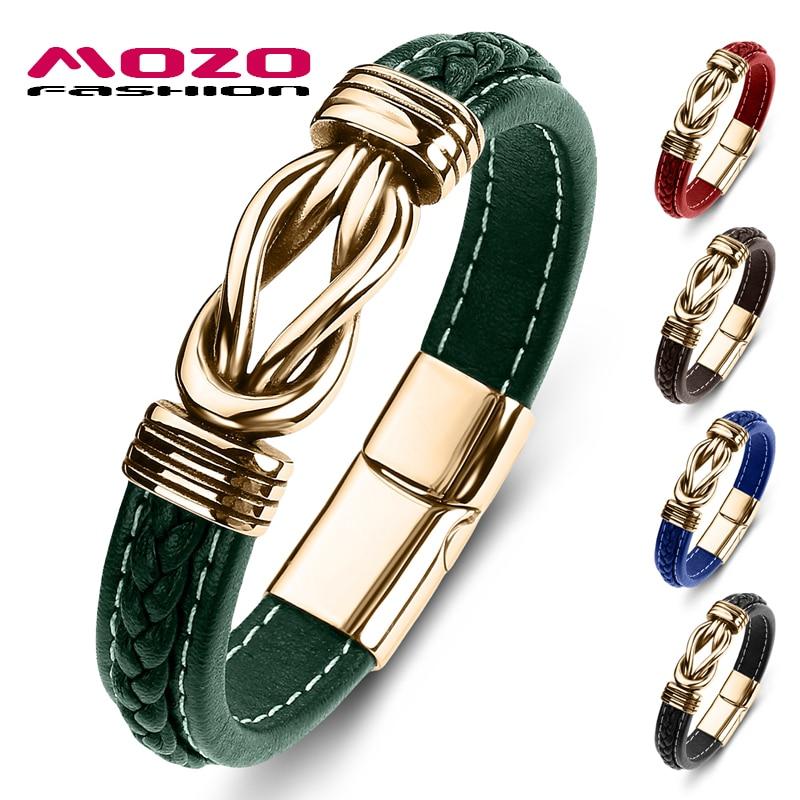 MOZO FASHION New Classic Men Bracelet Leather Stainless Steel Charm Bracelet Women Cross Punk Jewelry Bracelet Gifts Green