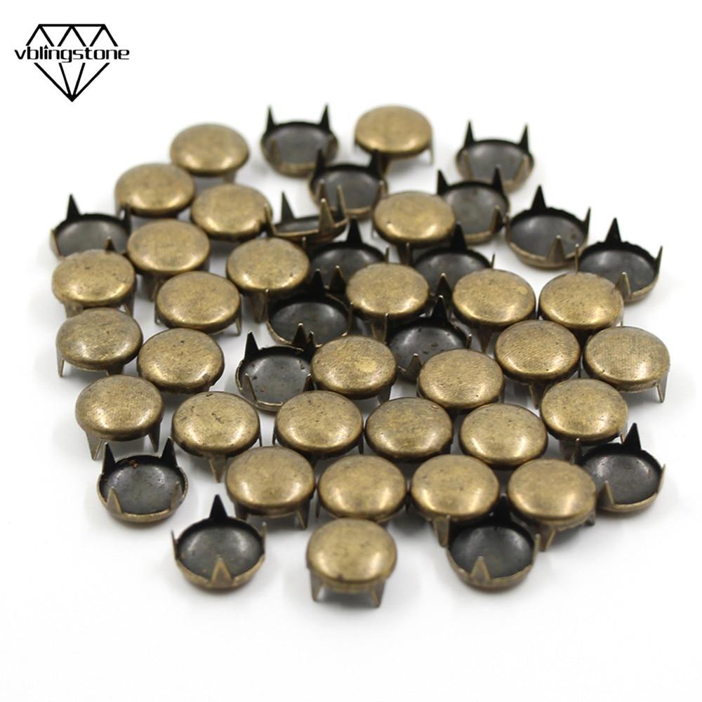 3 colores 100 Unids 8 x 8 mm doble remache de metal remache artesan/ía cuero repara clavos espiga decoraci/ón Plata