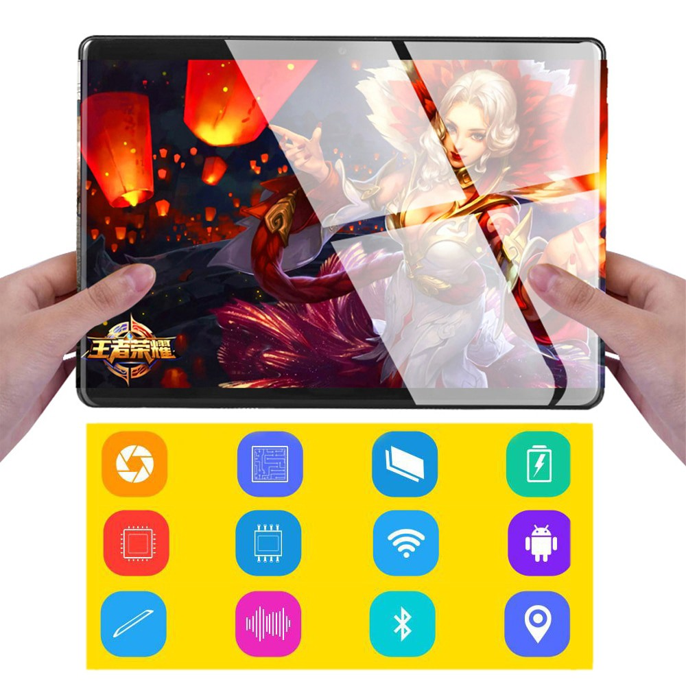 Newest 10.1 Inch Tablets PC 4G-LTE 2.5D Tempered Glass 5000mAh Android 8.0  Wifi 6GB RAM 128GB ROM IPS Octa Core Tablet 10.1