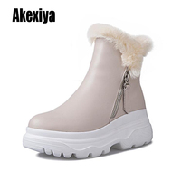 Classic Genuine Cowhide leather snow boots rabbit hair Wool Women Boots Warm winter shoes for women large size 34 40 k512