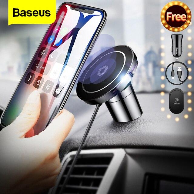 Baseus المغناطيسي شاحن لاسلكي آيفون 11 برو ماكس X سامسونج S9 ملاحظة شحن سريع المغناطيس حامل هاتف السيارة محطة الإرساء