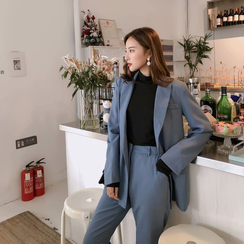 RZIV 2019 Autumn Blazer Set Women Two Piece Suit Casual Solid Color OL Style Jacket And Pants
