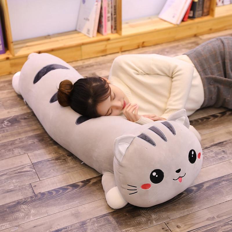Cartoon Cat Pillow Stuffed Animal Dolls Soft Kids Toy Cat Sleep Long Plush Pillow Sofa Decorative Cushion Girl Gift Overwatch 3