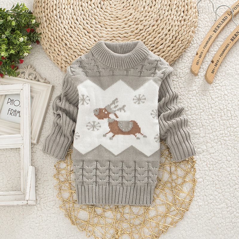 Children Christmas Sweater Girl Round Neck Sweaters Boy Little Deer Clothes 1-4 Years Baby Autumn Clothing Kids Warm Tops 6