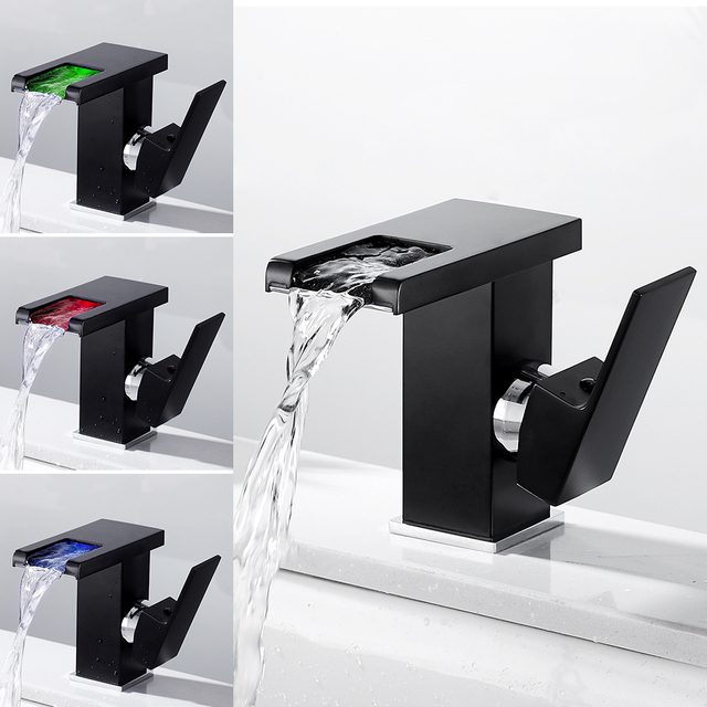 Modern 3 Colors Temperature Sensor Led Faucet Bathroom Sink Faucet Cold and Hot Water Mixer Tap Waterfall Single Handle Sink Tap 1