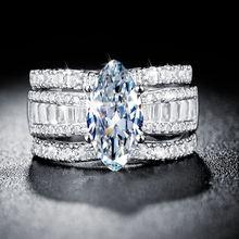 Ustar 3 шт/компл роскошные свадебные кольца с кубическим цирконием