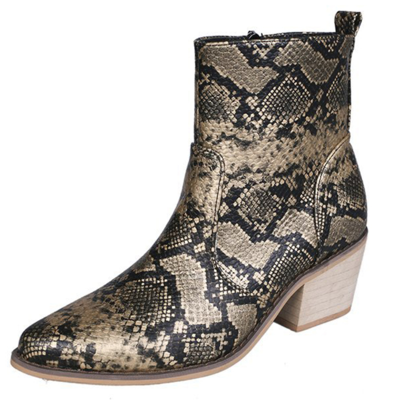XZ051 Pointed Toe Snake Chelsea Boots Ladies Leather Calf Comfort Thick High Heels Short Women Zipper Martin