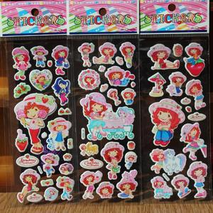 20 Sheet New Cartoon Anime Strawberry Girl Sticker PVC Education Collection Strawberry Bubble Stickers Toys for Kids Girl Gift