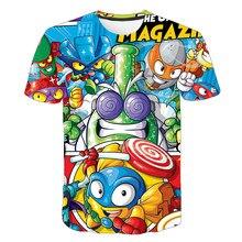 Tendência roupas infantis 3d t-shirts verão popular jogo super zings desenhos animados anime meninos/meninas/bebê camiseta respirável 4t-14t