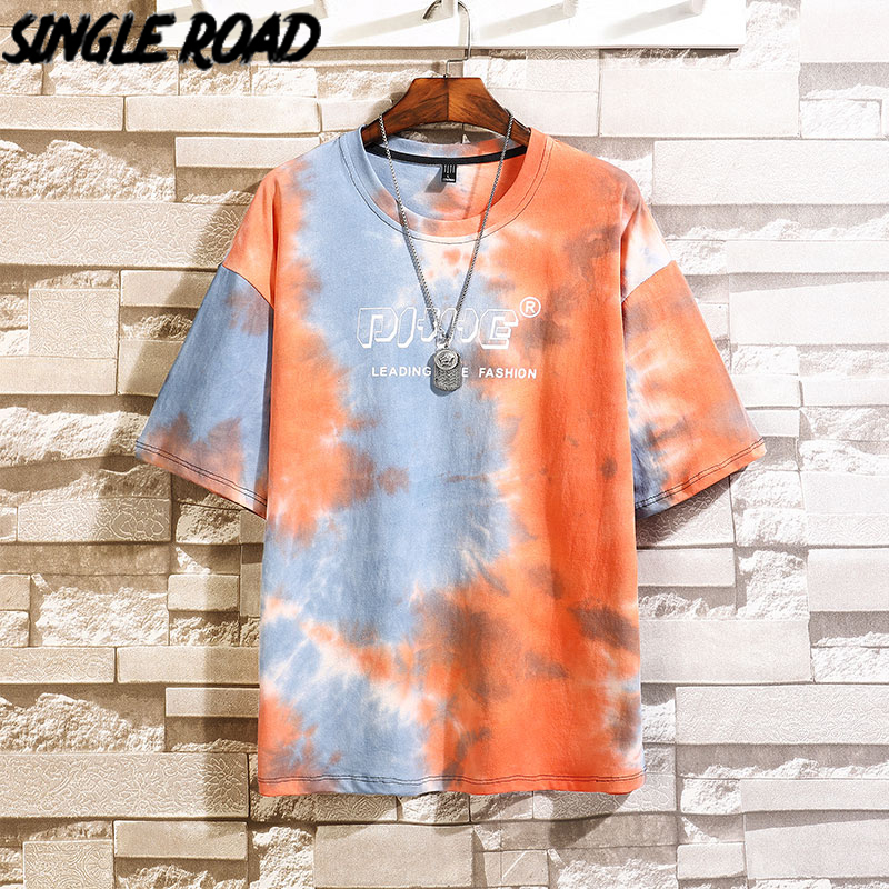 SingleRoad Man's Orange T-shirt Men Oversized Tie Dye Cotton Punk Hip Hop Japanese Streetwear Harajuku Tshirt Male T Shirt Men
