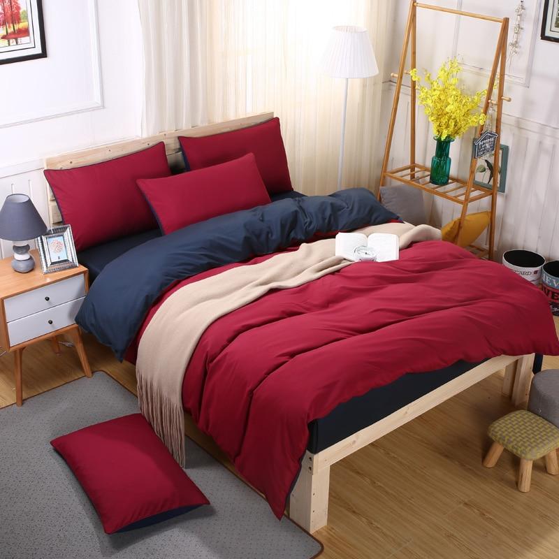Pillowcase Bedding-Sets Duvet-Cover Dark-Blue Double-Wine Flat-Bed-Sheet King-Queen Single-Size