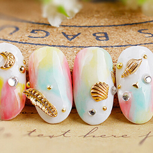 100pcs/lot Nail Gold Siver Charming Stud Rhinestone Metal Sea Shell Starfish 3MM&5MM Rivet 3D Stud Nail Tip Accessory Charm Stud