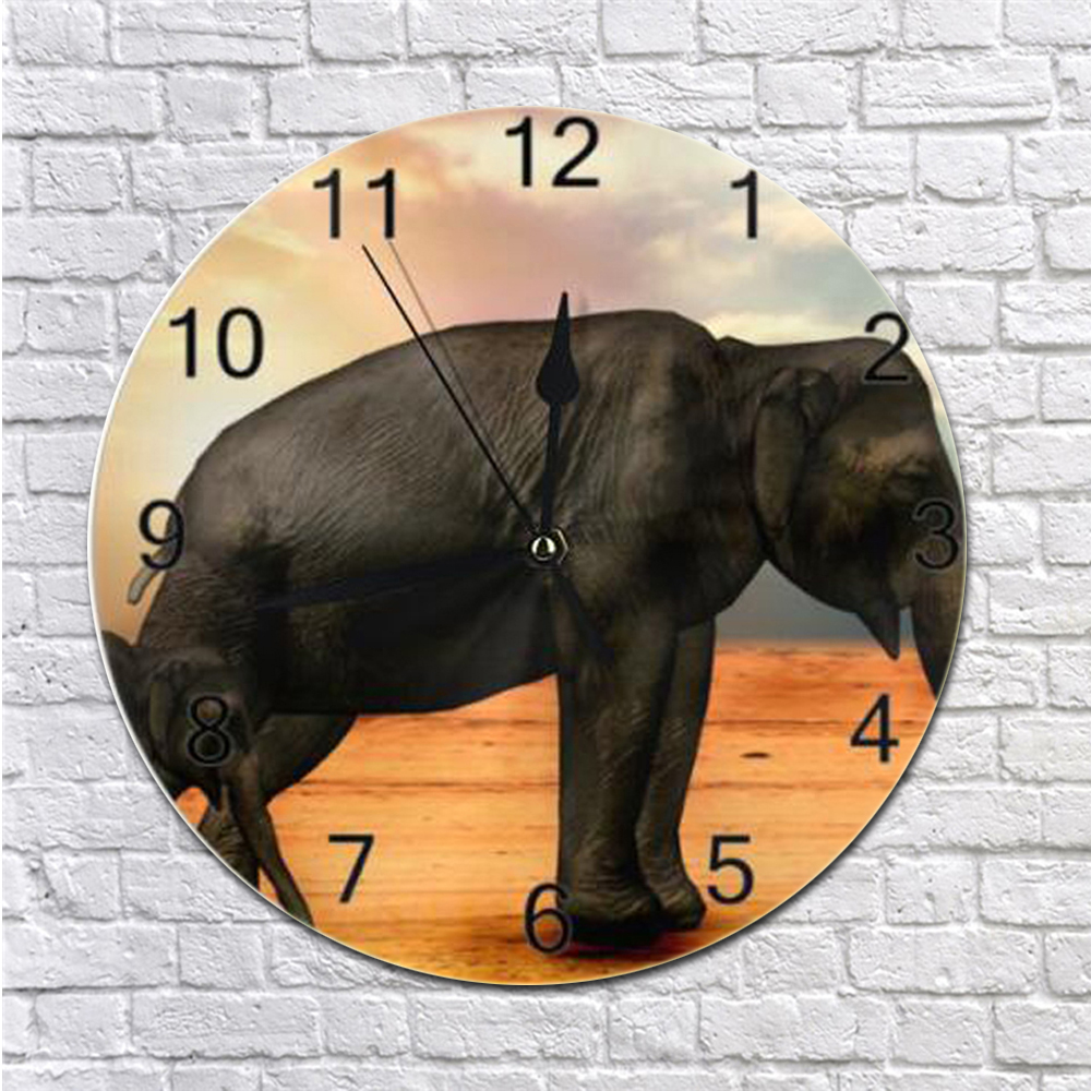 Round Wall Clock Elephant Animal Numeral Digital Dial Mute Silent Non-ticking Electronic Wall Clock Battery Operated For Bedroom
