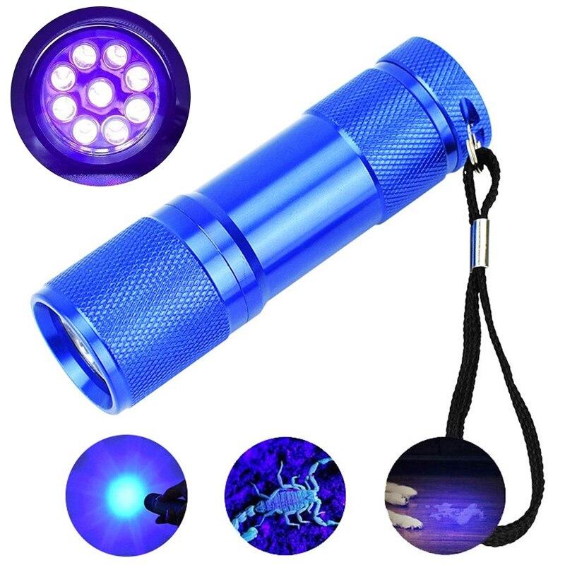 Светодиодный УФ фонарик светильник 395nm 9 светодиодный sPortable мини небольшой фонарь обнаружения светильник Ультрафиолетовый фонарь черный