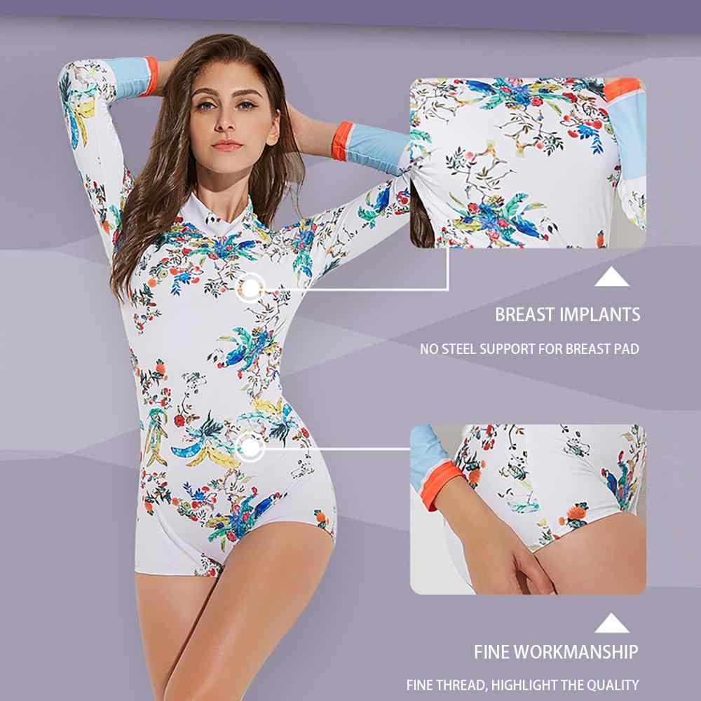 طويلة الأكمام ملابس السباحة rashguard بحر رفع امرأة عالية الخصر ملابس السباحة قطعتين المطبوعة الإناث ملابس السباحة # D