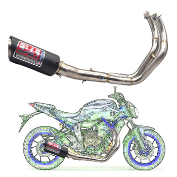 Para Yamaha MT07 MT 07 MT-07 FZ-07 2014-2016 XSR700 2016-2017, sistema completo de tubo de escape, sistema de escape, tubo completo medio