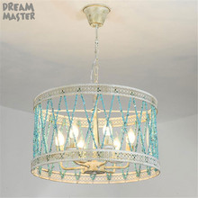 American country Style chandelier blue stone wrought iron dining chandelier creative handmade decor Nordic chandelier lighting цена 2017