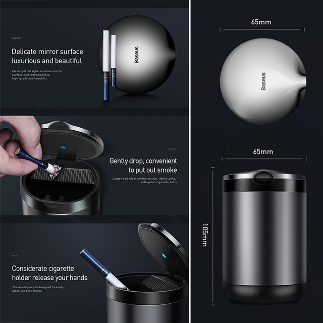 Baseus Portable Car Ashtray with LED Light Auto Cigarette Smoke Cup Holder Ash Tray For Car Smokeless Ashtrays Car Accessories