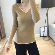 LHZSYY 2019Autumn Winter New Womens Knitted V-Neck Sweater Fashion Tight Short Bottoming shirt Warm Hot Sell Slim Wild Pullover