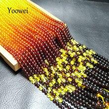 Yoowei 4mm 5mm Rainbow Amber Necklace Round Loose Beads Genu