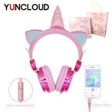 Unicorn Wired Headphone With Microphone Girls Daugther Children Music Stereo Earphone For Computer Phone Gamer Headset Kids Gift