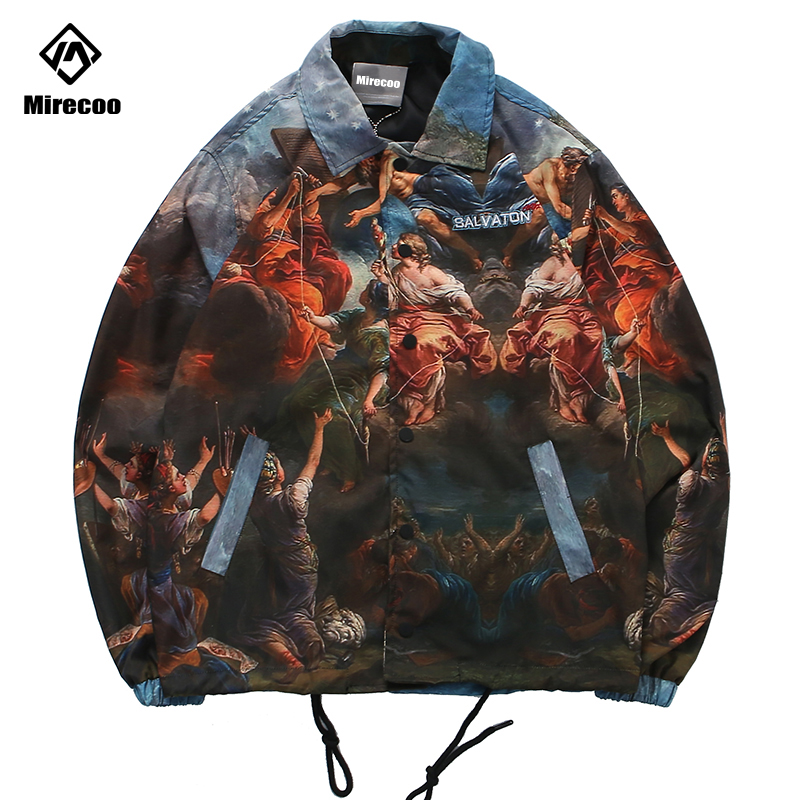 Mirecoo Jacket Men Oil Painting Printed Mens Jacket Hip Hop Windbreaker Men Coaches Jacket Advanced Fashion Coat Streetwear 2019