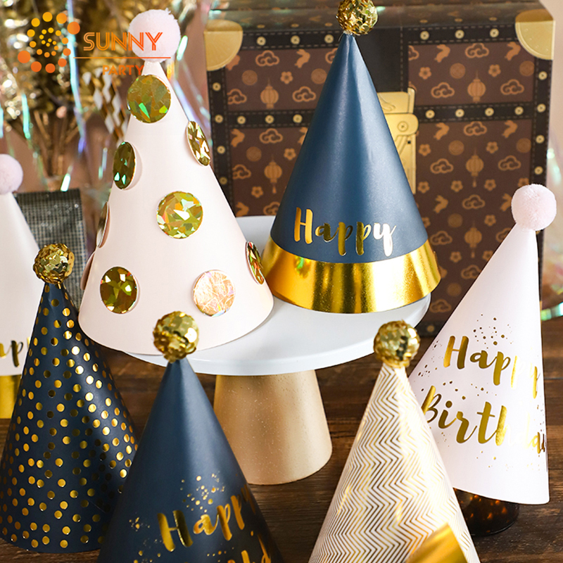 Black Gold Round Dot Stripe Party Hat Sequin Plush Ball Mini Birthday Caps Boys/Girls Birthday Party Decoration Supplies