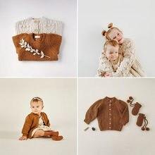 Enkelibb cru crianças inverno casacos de malha adorável estilo da criança meninos meninas pop cprn cardigan bebê casacos quentes para o bebê