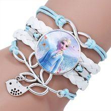 Disney princesa pulseira crianças pulseiras dos desenhos animados congelado elsa pulseira acessório pingente menina pulseira acessório presente de aniversário