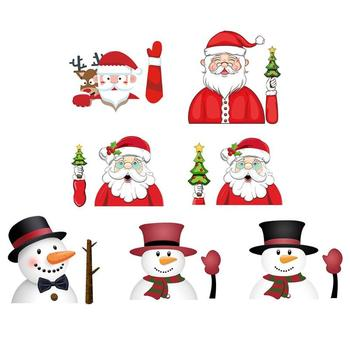 VODOOL PVC Christmas Decoration Santa Claus Waving Waterproof Car Stickers Styling Window Wiper Decal Rear Windshield Decoration image
