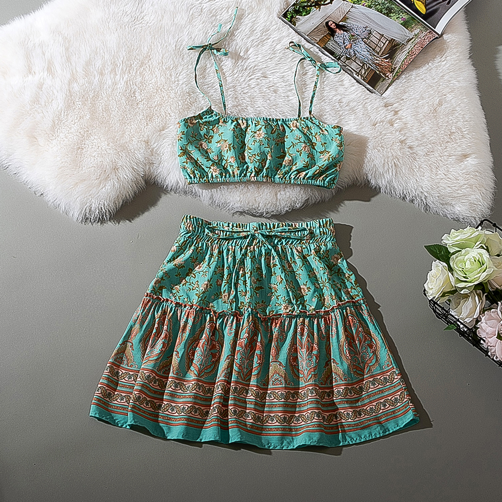 Cthink Summer 2020 Flower Two Piece Set Green Print Crop Top Women With Skirt Elegant Holiday Floral Print  2 Piece Set Women
