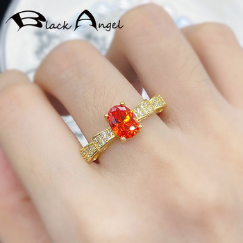 BLACK ANGEL Female New Fashion Fanta Orange Red Zircon Ring For Women Yellow gold Color Bowknot CZ Silver Jewelry Party Gifts