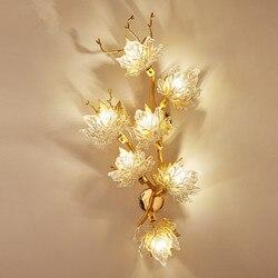 Nowa nowoczesna kryształowa kinkiet projektant maple leaf kinkiet lekki luksusowy twórczy złoty lampa do salonu dekoracja hotelu lampa LED