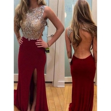 2019 Wine Red Sexy Backless Mermaid Split Evening Dresses Luxurious Crystal Satin Party Prom Gown robe de soiree Walk Beside You