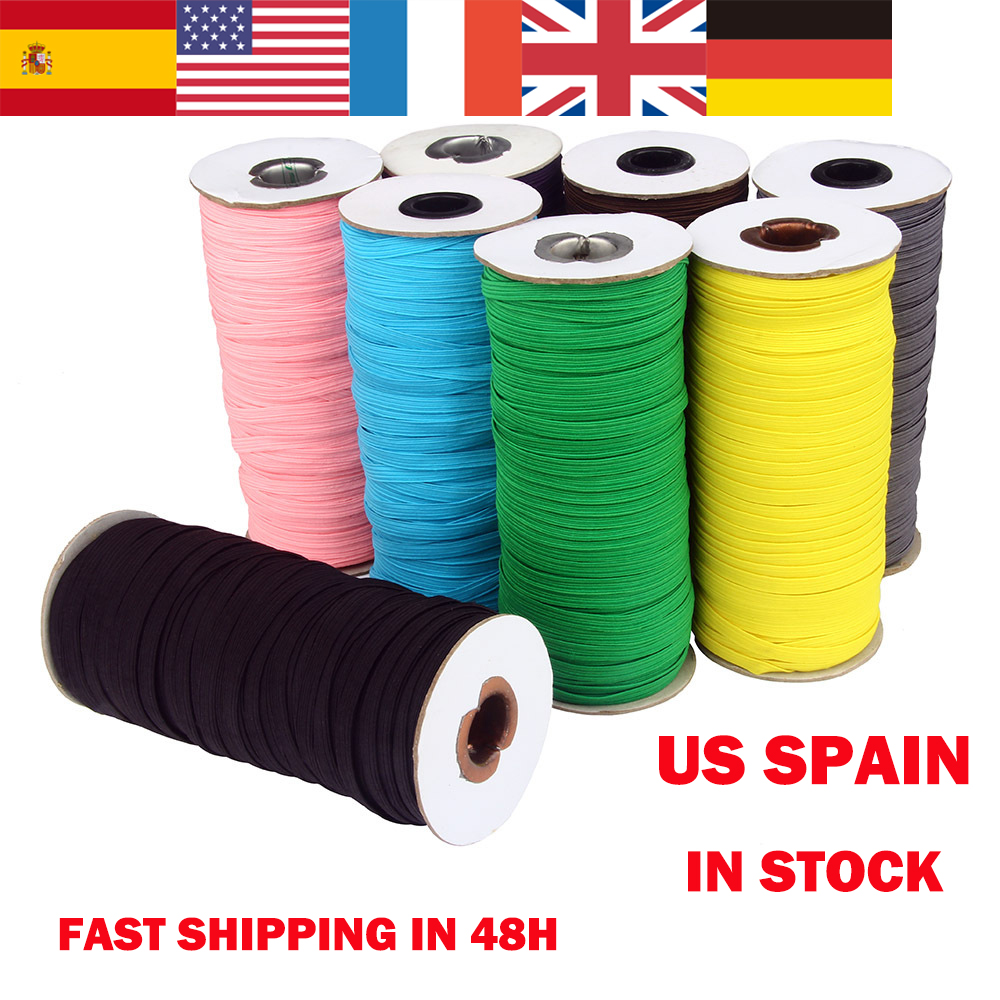 Spain US Fast Shipping Elastic Braiding Cords Stretchy Elastic Bands Rope For DIY Sewing Crafting Earloop Making