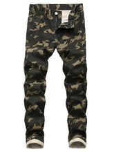 New Stretched Camouflage Military Jeans Mid Waist Mens Skinny Denim Jeans For Men Print Pencil Pants
