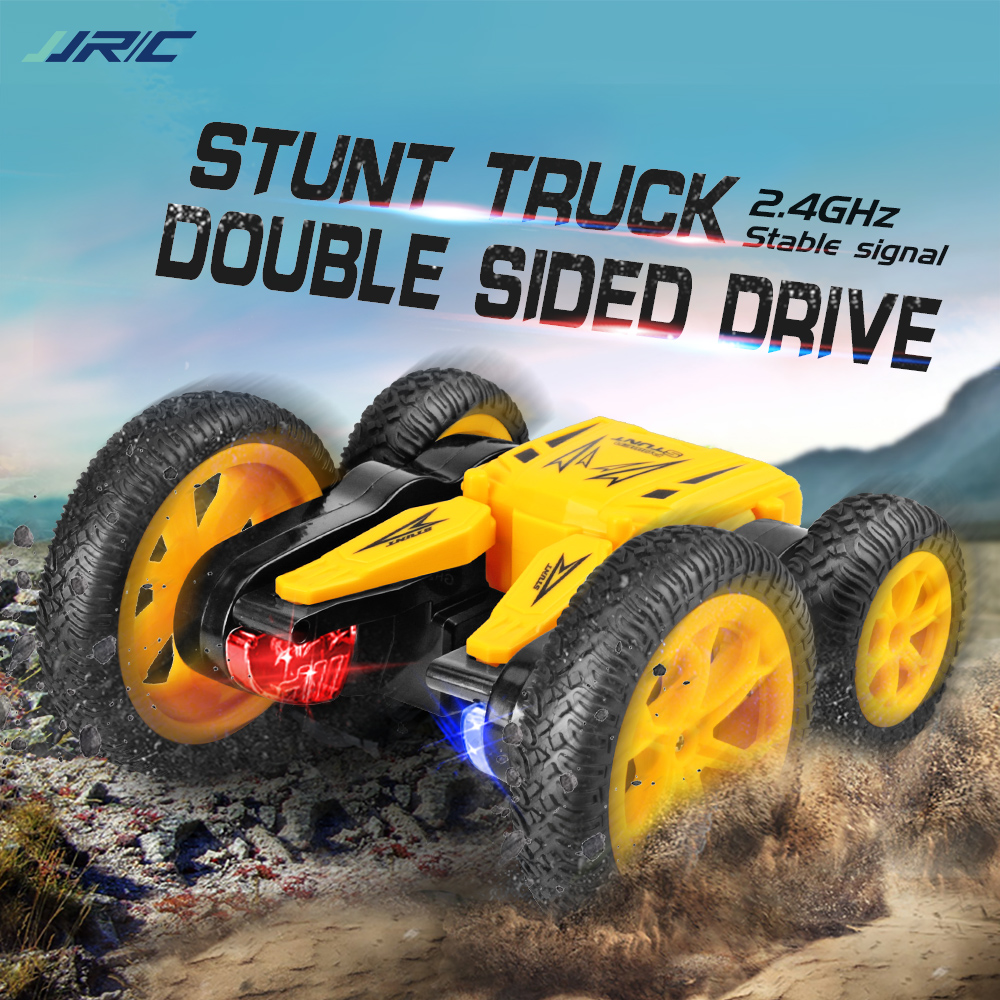 RC Car 15KM/H 4WD One Key Deformation Flip 360° Stunt Car Rotating Double-sided Remote Control Car For Kid Buggy Toys JJRC Q71