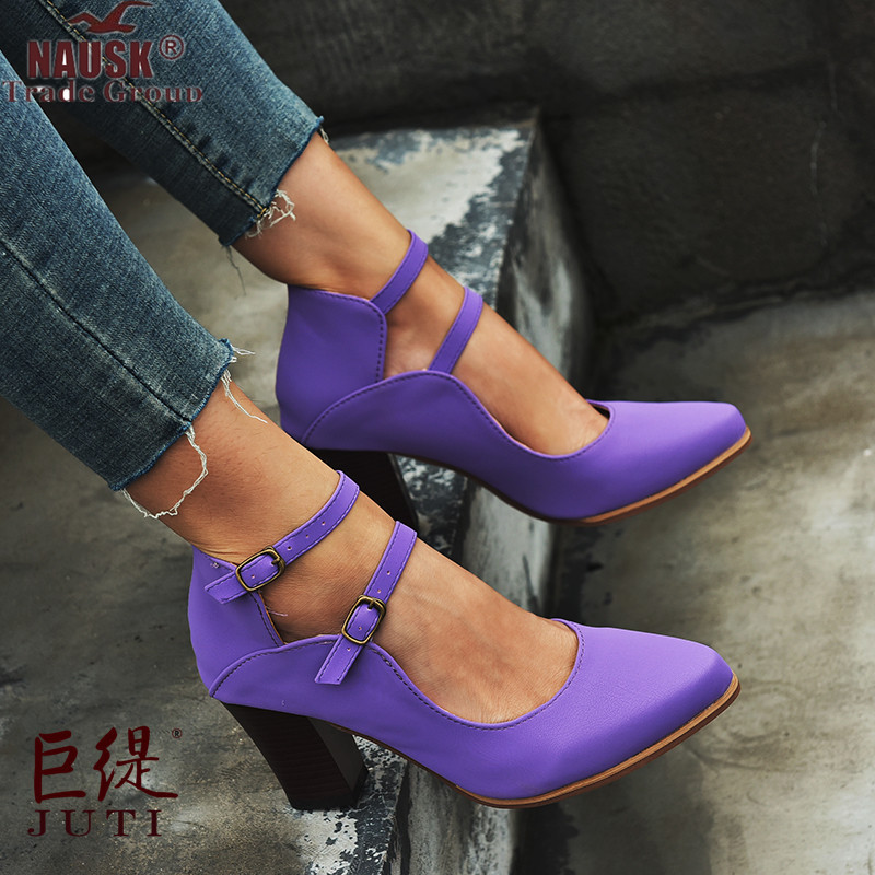 New Women Pumps Fashion Ladies High Heels Shoes Soft Leather Heels Shoes Woman Pointed Toe Non-slip Brand Plus Size 34~43