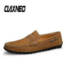 CLAXNEO Man Boat Shoes Summer Casual Leather Shoe Slip on Male Loafers Genuine Flats Men Moccasins clax Breathable