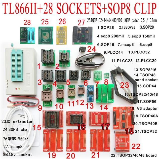 TL866II בתוספת Minipro מתכנת 28 מתאם שקע SOP8 קליפ TL866 nand פלאש 24 93 25 mcu ה bios EPROM AVR IC שבב מתכנת