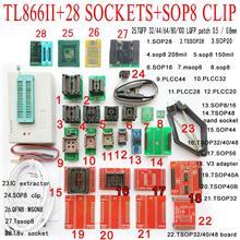 TL866II Più Minipro Programmatore 28 adattatore presa SOP8 clip TL866 nand flash 24 93 25 mcu Bios EPROM AVR IC programmatore di chip