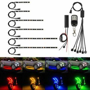 Image 2 - 6X אופנוע LED ניאון רצועת מנורת אלחוטי RGB 18 צבעים שלט רחוק תחת זוהר אורות LED רכב דקורטיבי אור רצועת ערכות