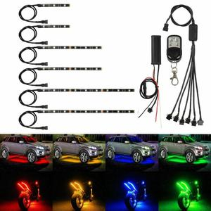 Image 2 - 6X Motorcycle LED Neon Strip Lamp Wireless RGB 18  colors Remote Control Under Glow Lights LED Car Decorative Light Strip Kits