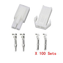 цена на Free shipping 100 Sets/Kit EL-2P Electronic connector 4.5mm spacing Multipole Connectors Male and Femal Plug + terminals
