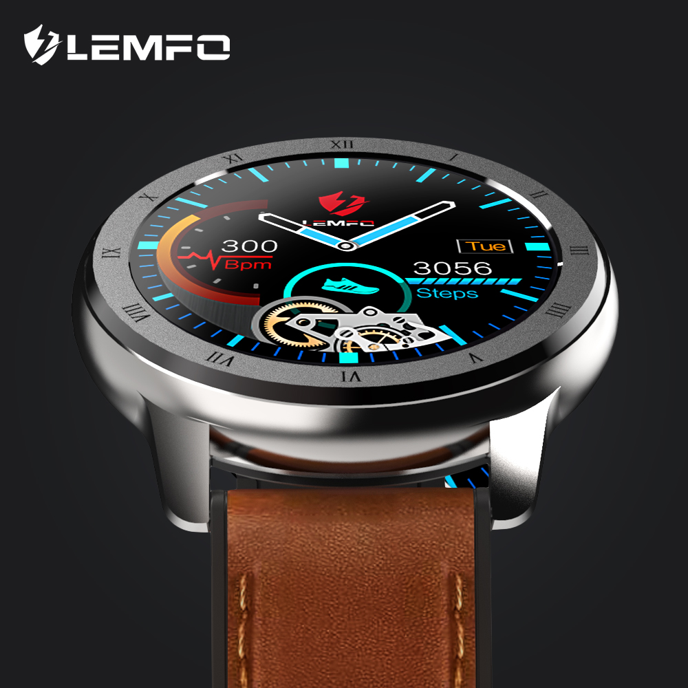 LEMFO ELF2 PPG + ECG Smart Watch 1.3 Inch Full Round Touch Screen 360*360 HD Resolution Stainless Steel Case Strap For Men Smart Watches    - AliExpress