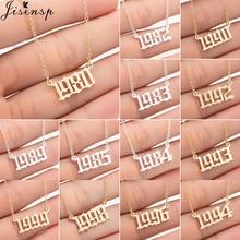 Jisensp, Collar personalizado para mujeres, fecha especial, número de año, collares colgantes 1994 1999 de 1980 a 2004, regalo de joyería de moda