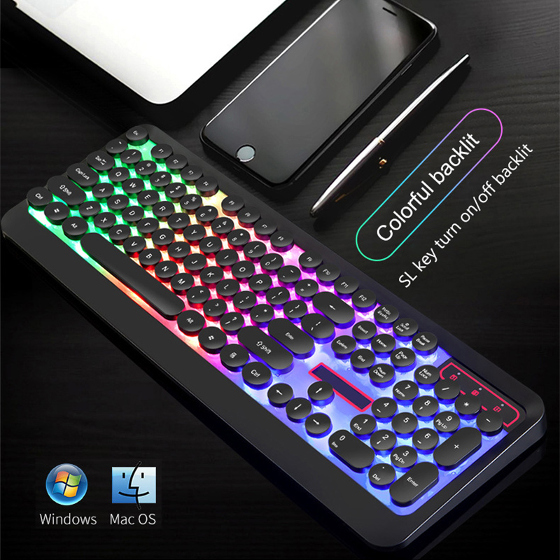 USB Wired Gaming Keyboard RGB Backlit Mechanical Feeling Keyboard For Macbook Lenovo Round <font><b>Keycaps</b></font> PC Computer Keypad Gamer image