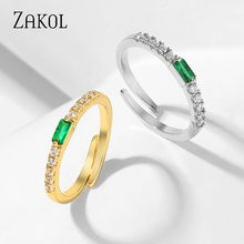 ZAKOL Fashion AAA Cubic Zircon Small Simple Engagement Rings Adjustable Opening Ring Jewelry for Women FSRP2154
